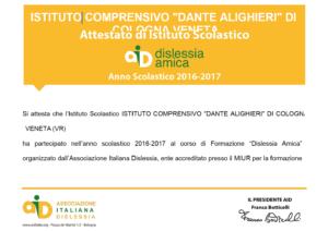 Certificato dislessia amica - apri pdf
